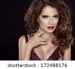 beautiful brunette with long... | Shutterstock . vector #172488176