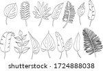 tropical vector leaves line art | Shutterstock .eps vector #1724888038