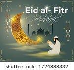 eid al fitr  mubarak text means ... | Shutterstock .eps vector #1724888332