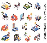 work from home isometric icons... | Shutterstock .eps vector #1724919622
