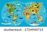 animal map of the world for... | Shutterstock .eps vector #1724940715