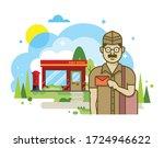 illustration of postman... | Shutterstock .eps vector #1724946622