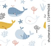 seamless childish pattern with... | Shutterstock .eps vector #1724996068