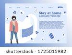 landing page template of  girl...   Shutterstock .eps vector #1725015982