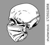 skull face in medical face mask....   Shutterstock .eps vector #1725022858