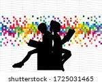 silhouettes of people with a... | Shutterstock . vector #1725031465