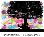 silhouettes of people with a... | Shutterstock . vector #1725031918