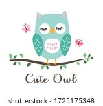 cute owl illustration for... | Shutterstock .eps vector #1725175348