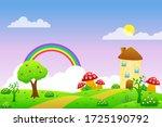 cute fairy tale landscape... | Shutterstock .eps vector #1725190792