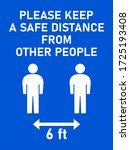 please keep a safe distance... | Shutterstock .eps vector #1725193408