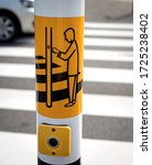 Small photo of Pedestrian crosswalk button and explanatory drawing close up. Road safety concept
