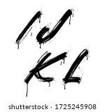 i  j  k  l brush stroke letters ...   Shutterstock .eps vector #1725245908