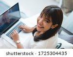 cheerful young beautiful woman... | Shutterstock . vector #1725304435