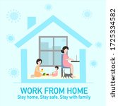 woman is works from home by... | Shutterstock .eps vector #1725334582