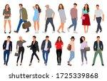 cartoon men and women walking... | Shutterstock .eps vector #1725339868