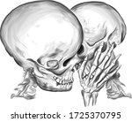 skulls kiss love vector...