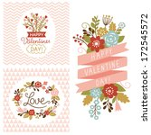 valentine's day cards set  | Shutterstock .eps vector #172545572