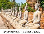 Buddha Statues In Row At...