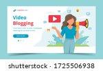 female video blogger making... | Shutterstock .eps vector #1725506938