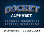 docket alphabet font. 3d retro... | Shutterstock .eps vector #1725526555