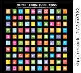 home furniture icons set  flat... | Shutterstock .eps vector #172553132