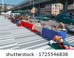 Genoa, Italy, July 27, 2019: The Marine Station of Genoa, sale of souvenirs in the seaport of Genoa - stock photo