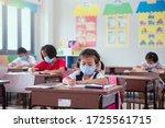 childen students wearing cloth... | Shutterstock . vector #1725561715