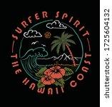 surfer spirit .the hawaii coast.... | Shutterstock .eps vector #1725604132