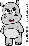 scared hippo  illustration ... | Shutterstock .eps vector #1725623905