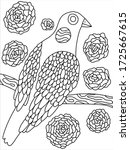 lovely bird coloring book page... | Shutterstock .eps vector #1725667615