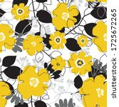 yellow and black flower pattern | Shutterstock .eps vector #1725672265