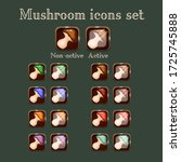 vector mushroom game buttons ...