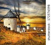 Spain Consuegra. Windmills On...