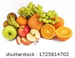 Various Ripe Fruits On A White...