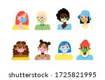 set of stylish girls wearing... | Shutterstock .eps vector #1725821995
