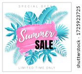 vector poster with tropical... | Shutterstock .eps vector #1725923725