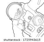 Vector Line Art Spaceman Design....