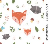 Pattern With Cute Fox  Raccoon...