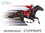 Jockey On Horse Race. Sport....