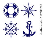 Set Of Marine Symbols  Vector...