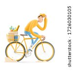 the courier in yellow uniform... | Shutterstock . vector #1726030105