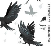 seamless pattern of black crows ... | Shutterstock .eps vector #1726036135