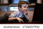 funny child with kitten using a ...   Shutterstock . vector #1726037932