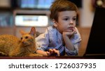 funny child with kitten using a ...   Shutterstock . vector #1726037935