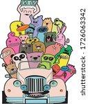it's summer time doodle monster ...   Shutterstock .eps vector #1726063342