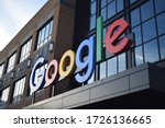 Small photo of Detroit, MI - December 2019: Sign on the Google building in downtown Detroit. Google office in Michigan