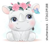 Cute Rhino With Watercolor...