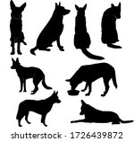 Set Of Silhouettes Of Big Dog...