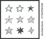 set of hand drawn stars. doodle ... | Shutterstock .eps vector #1726496428