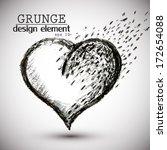 heart drawn in black chalk ... | Shutterstock .eps vector #172654088